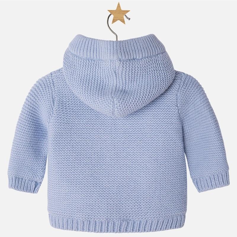 6ac516bfa0006 2300 Mayoral Erkek Bebek Kışlık Örme Triko Kapşonlu Hırka Açık Mavi