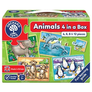 Orchard Animal 4 In A Box Puzzle 3 Yaş +